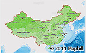 Political Shades 3D Map of China, single color outside