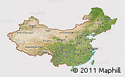 Satellite 3D Map of China, cropped outside