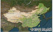 Satellite 3D Map of China, darken
