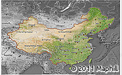 Satellite 3D Map of China, desaturated