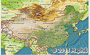Satellite 3D Map of China, physical outside, satellite sea