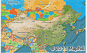 Satellite 3D Map of China, political outside, satellite sea