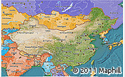 Satellite 3D Map of China, political shades outside, satellite sea