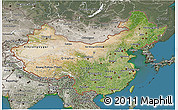 Satellite 3D Map of China, semi-desaturated, land only