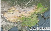 Satellite 3D Map of China, semi-desaturated