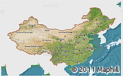 Satellite 3D Map of China, single color outside
