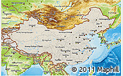Shaded Relief 3D Map of China, physical outside