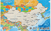Shaded Relief 3D Map of China, political outside, shaded relief sea