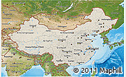 Shaded Relief 3D Map of China, satellite outside, shaded relief sea