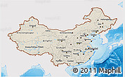 Shaded Relief 3D Map of China, single color outside