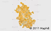 Political Shades Map of Anhui, cropped outside