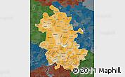 Political Shades Map of Anhui, darken