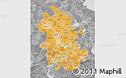 Political Shades Map of Anhui, desaturated