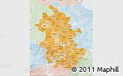 Political Shades Map of Anhui, lighten