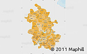 Political Shades Map of Anhui, single color outside