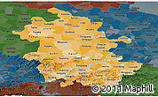 Political Shades Panoramic Map of Anhui, darken
