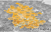 Political Shades Panoramic Map of Anhui, desaturated