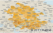 Political Shades Panoramic Map of Anhui, shaded relief outside