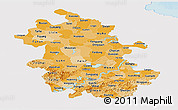 Political Shades Panoramic Map of Anhui, single color outside