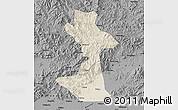 Shaded Relief Map of Huairou, darken, desaturated