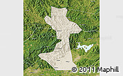 Shaded Relief Map of Huairou, satellite outside