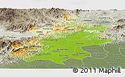 Physical Panoramic Map of Beijing, semi-desaturated