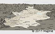 Shaded Relief Panoramic Map of Beijing, darken