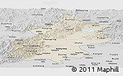 Shaded Relief Panoramic Map of Beijing, desaturated