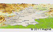 Shaded Relief Panoramic Map of Beijing, physical outside