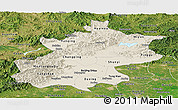 Shaded Relief Panoramic Map of Beijing, satellite outside