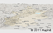 Shaded Relief Panoramic Map of Beijing, semi-desaturated