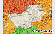 Shaded Relief Map of Yanqing, political outside