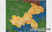 Political Shades 3D Map of Chongqing, darken