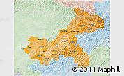 Political Shades 3D Map of Chongqing, lighten