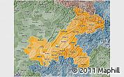 Political Shades 3D Map of Chongqing, semi-desaturated