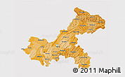 Political Shades 3D Map of Chongqing, single color outside