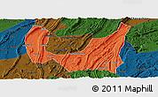 Political Panoramic Map of Ba Xian, darken