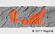 Political Panoramic Map of Ba Xian, desaturated