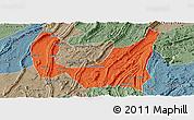 Political Panoramic Map of Ba Xian, semi-desaturated
