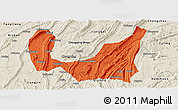Political Panoramic Map of Ba Xian, shaded relief outside