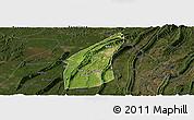 Satellite Panoramic Map of Bishan, darken