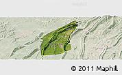 Satellite Panoramic Map of Bishan, lighten