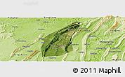 Satellite Panoramic Map of Bishan, physical outside