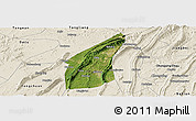 Satellite Panoramic Map of Bishan, shaded relief outside