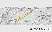 Shaded Relief Panoramic Map of Changshou, desaturated