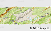 Shaded Relief Panoramic Map of Changshou, physical outside
