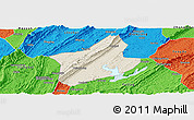 Shaded Relief Panoramic Map of Changshou, political outside