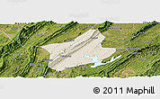 Shaded Relief Panoramic Map of Changshou, satellite outside