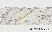 Shaded Relief Panoramic Map of Changshou, semi-desaturated