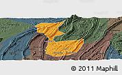 Political Panoramic Map of Chongqing Shiqu, darken, semi-desaturated